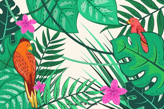 Fondo de pájaros y hojas tropicales en 2d