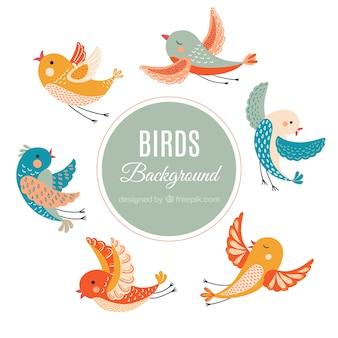 Fondo de pájaros vintage dibujados a mano