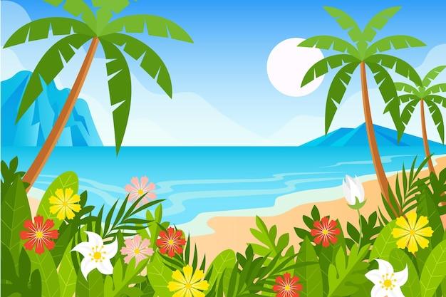 Fondo de palmeras y playa para video comunicación