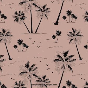 Fondo de palmeras vintage dibujadas a mano