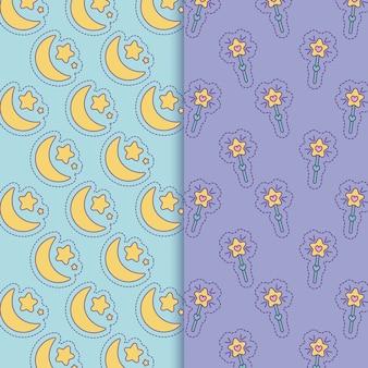 Fondo de palos de lunas y estrellas