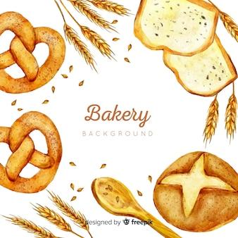 Fondo de panadería en acuarela