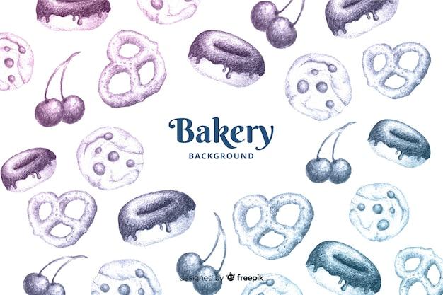 Fondo de panadería dibujado a mano