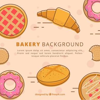 Fondo de panadería con dulces y pan