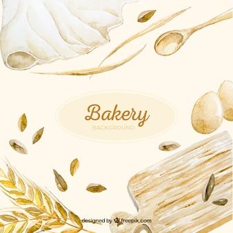 Fondo de panadería en estilo acuarela