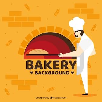 Fondo de panadería con panadero