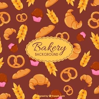 Fondo de panadería con pasteles y pan