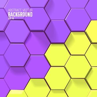 Fondo de panal brillante abstracto con hexágonos amarillos y púrpuras