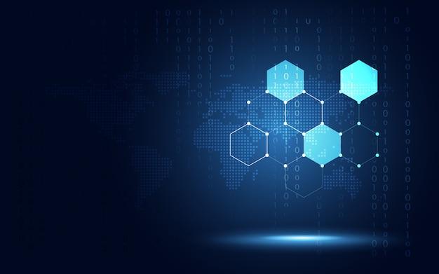 Fondo de panal hexagonal futurista azul