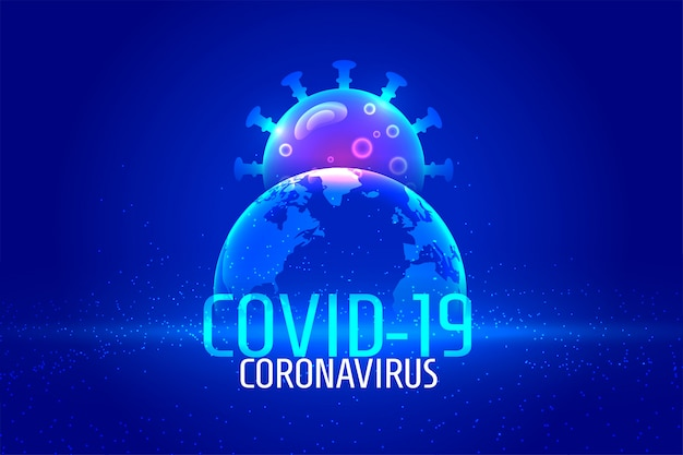 Fondo de pandemia de coronavirus global en color azul