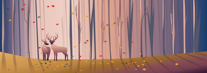 Fondo de panorama con paisaje de bosque caducifolio en otoño
