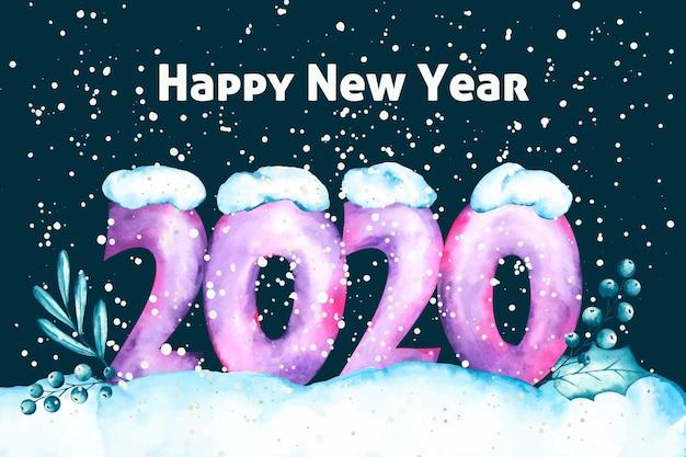 Fondo de pantalla de acuarela año nuevo 2020