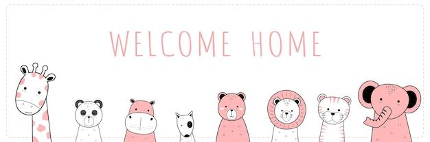 Fondo de pantalla ancha de doodle de dibujos animados lindo animal salvaje