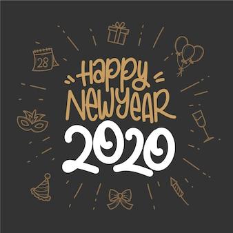 Fondo de pantalla de año nuevo 2020 dibujado a mano