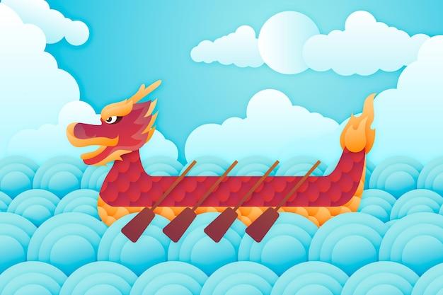 Fondo de pantalla de barco de dragón en papel