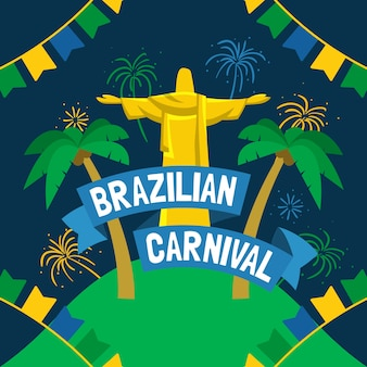 Fondo de pantalla de carnaval brasileño dibujado a mano