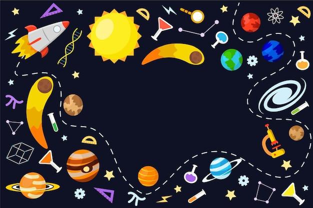 Fondo de pantalla de ciencia dibujado a mano con colección de elementos