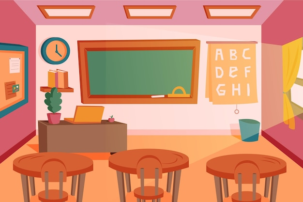 Fondo de pantalla de clase escolar vacía para videoconferencia