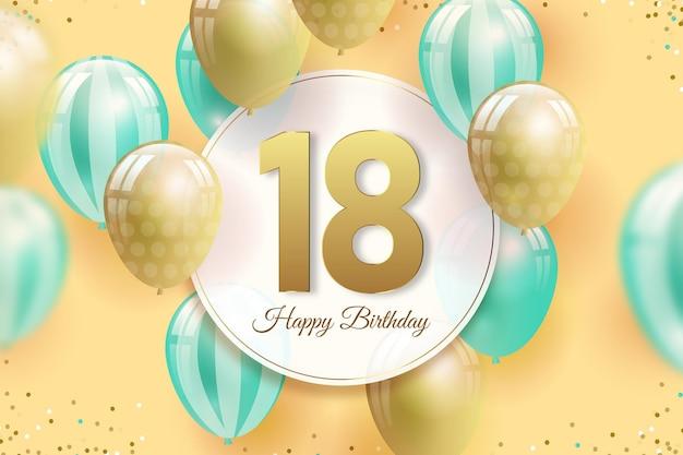 Fondo de pantalla colorido de feliz cumpleaños con globos realistas
