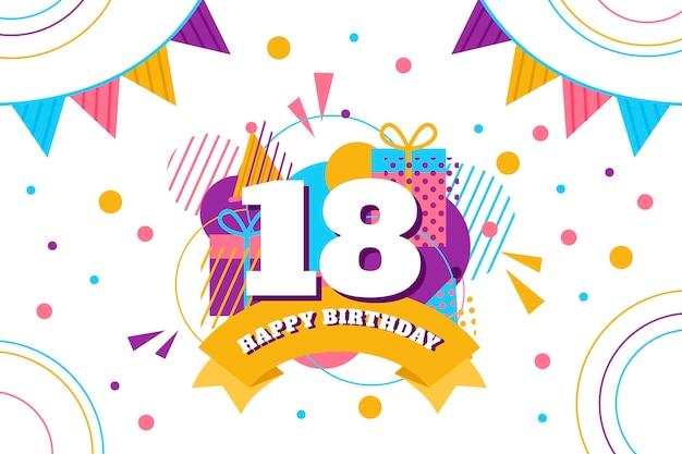Fondo de pantalla colorido feliz cumpleaños número 18