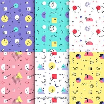 Fondo de pantalla colorido con patrón de memphis