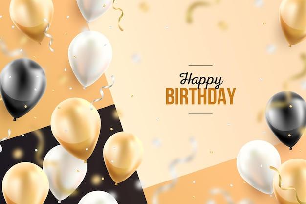 Fondo de pantalla de cumpleaños con globos realistas