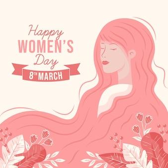 Fondo de pantalla del día de la mujer dibujado a mano