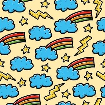 Fondo de pantalla de diseño de patrones sin fisuras de doodle de dibujos animados de arco iris