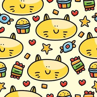 Fondo de pantalla de diseño de patrones sin fisuras de doodle de dibujos animados de gato
