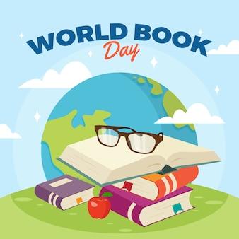 Fondo de pantalla de diseño plano del día mundial del libro