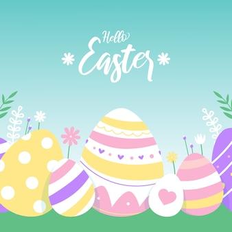 Fondo de pantalla de diseño plano feliz día de pascua con huevos