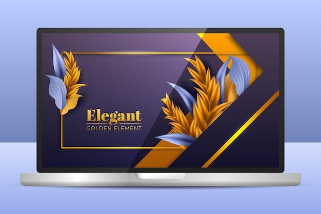 Fondo de pantalla dorado detallado en la pantalla del portátil