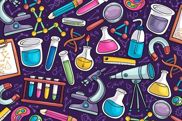 Fondo de pantalla de educación científica dibujado a mano