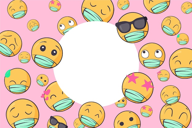 Fondo de pantalla de emoji dibujado a mano con máscara facial
