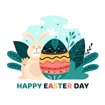 Fondo de pantalla de feliz día de pascua dibujado a mano