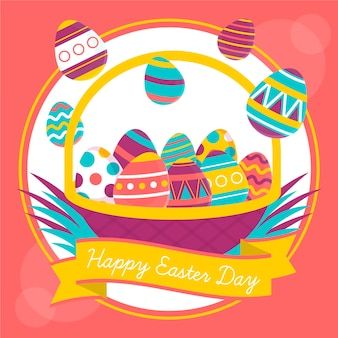 Fondo de pantalla de feliz día de pascua con diseño plano de huevos