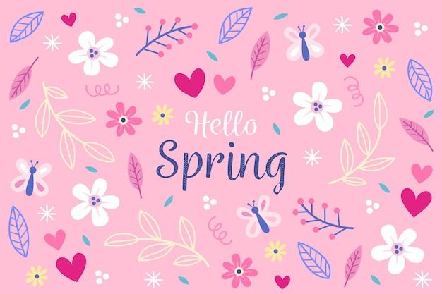 Fondo de pantalla de flores de primavera dibujado a mano