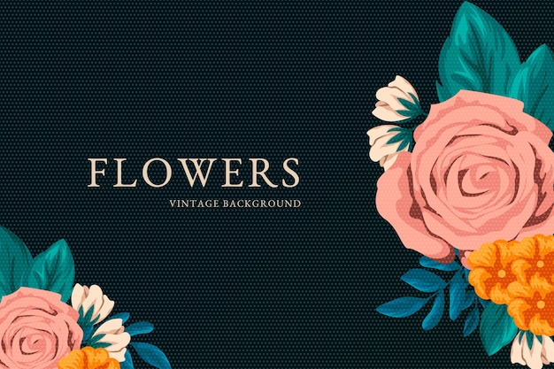 Fondo de pantalla de flores vintage 2d