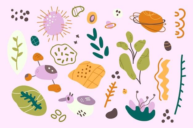 Fondo de pantalla de formas orgánicas abstractas dibujadas a mano