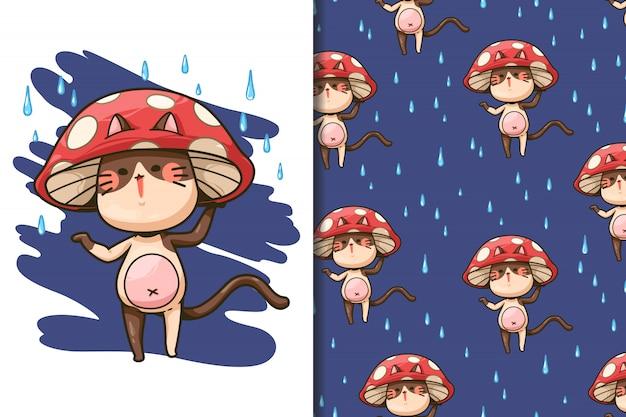 Fondo de pantalla y gato sin costuras con un sombrero de hongo y dibujos animados de gotas de lluvia