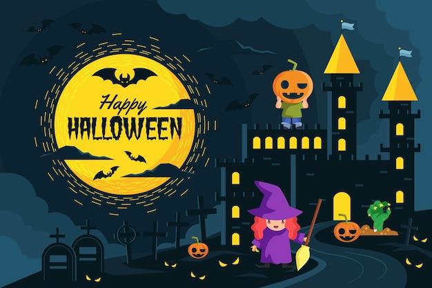 Fondo de pantalla de halloween con bruja =