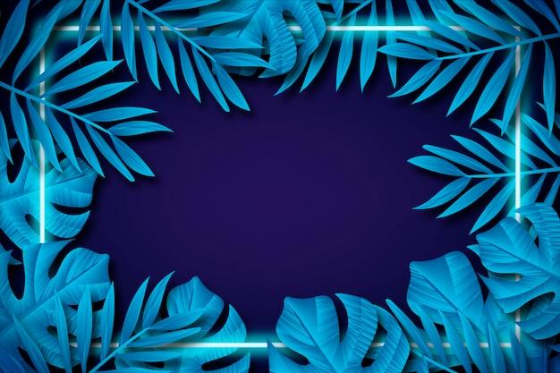 Fondo de pantalla con hojas realistas con concepto de marco de neón