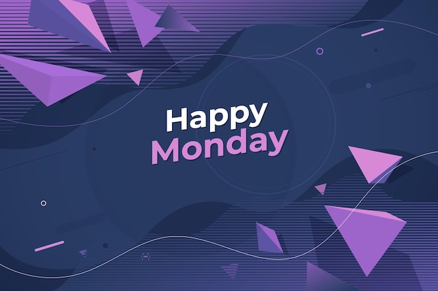 Fondo de pantalla de hola lunes en estilo memphis
