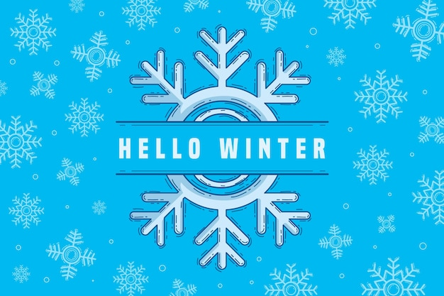 Fondo de pantalla de invierno cubierto de nieve dibujado a mano