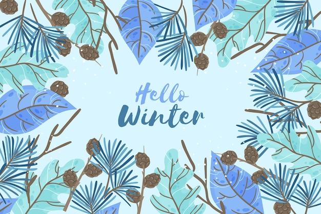 Fondo de pantalla de invierno dibujado a mano con mensaje de hola invierno