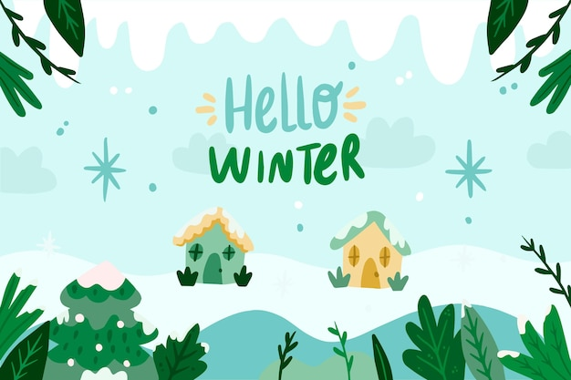 Fondo de pantalla de invierno dibujado a mano con texto de hola invierno