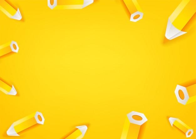 Fondo de pantalla de lápices amarillos. fondo de mensaje de redes sociales. copiar espacio para un texto