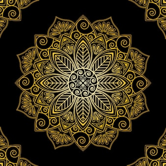 Fondo de pantalla de mandala dorado de lujo