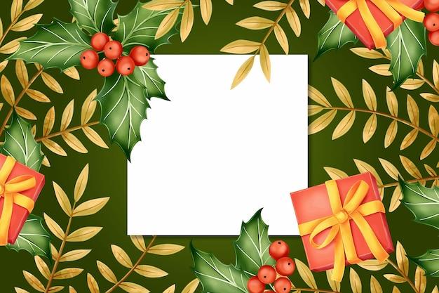 Fondo de pantalla de navidad realista con tarjeta vacía