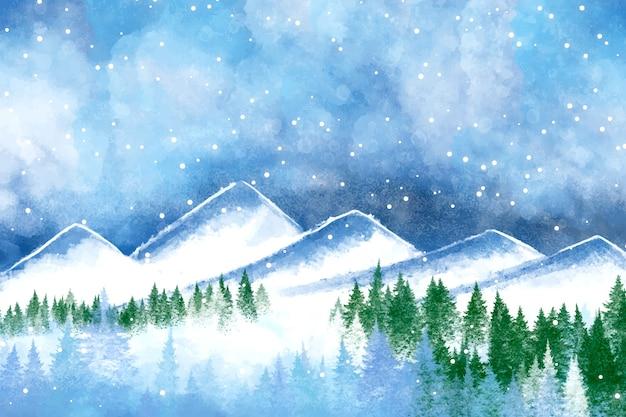Fondo de pantalla de paisaje de invierno de acuarela